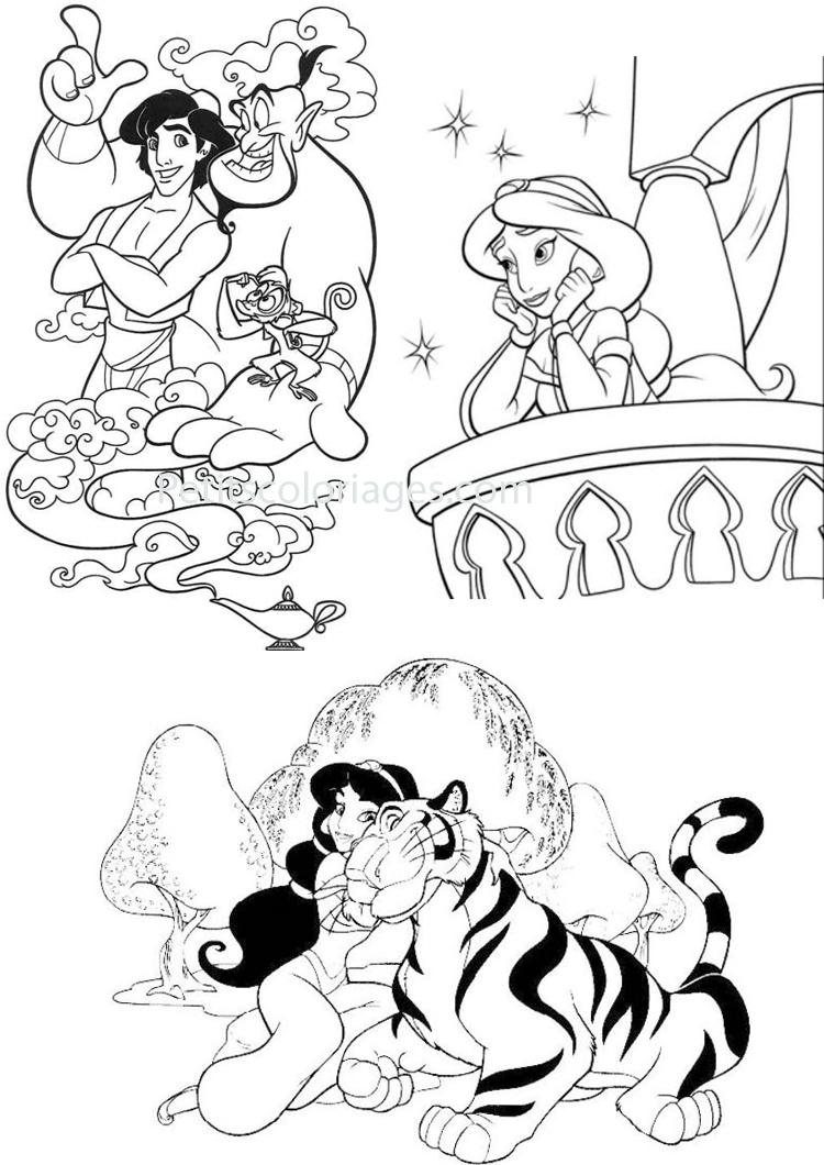 Petits coloriages Aladdin aladdin, jasmine, genie, tigre, singe, abu