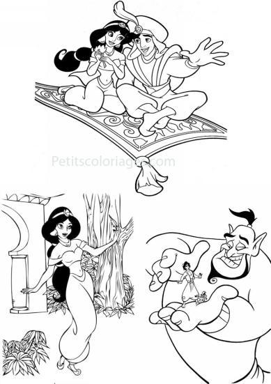 4 petits coloriages Aladdin : jasmine, tapis, fleur, genie