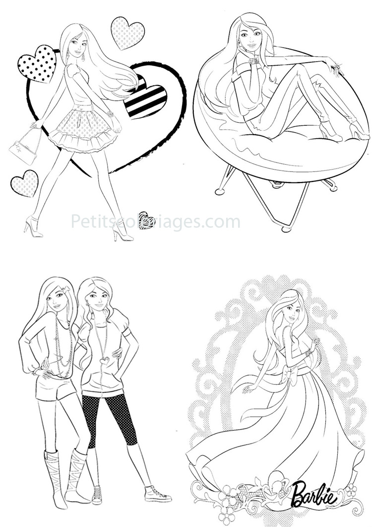 Petits coloriages Barbie coeur, star, robe