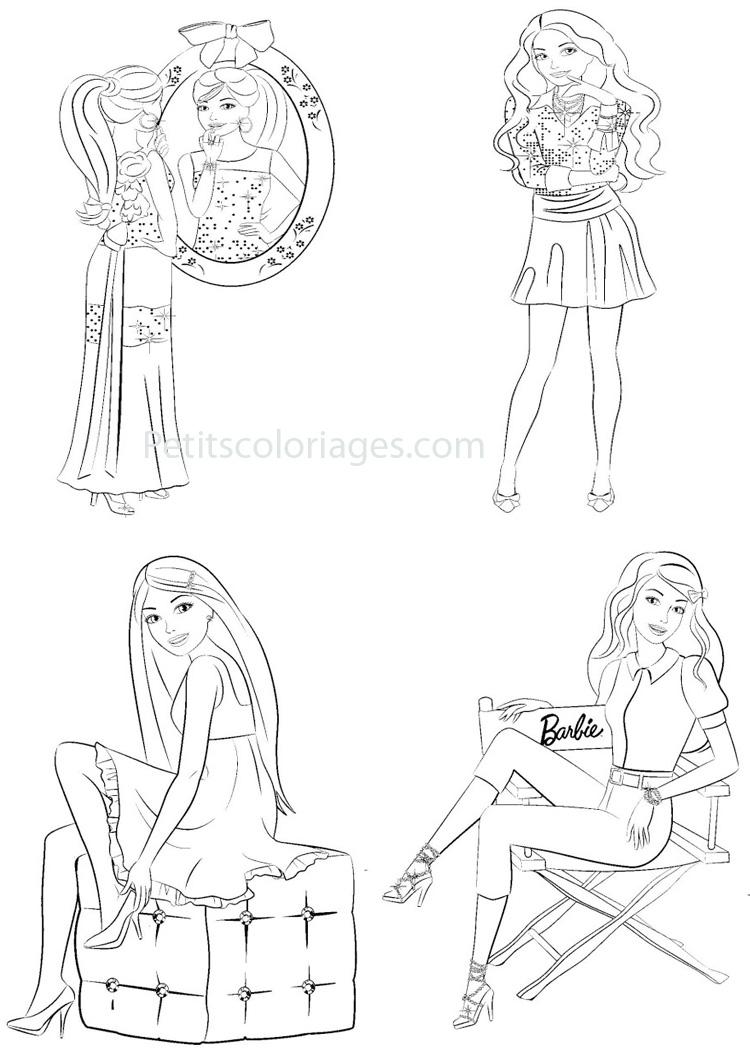 Petits coloriages Barbie miroir, star, talon