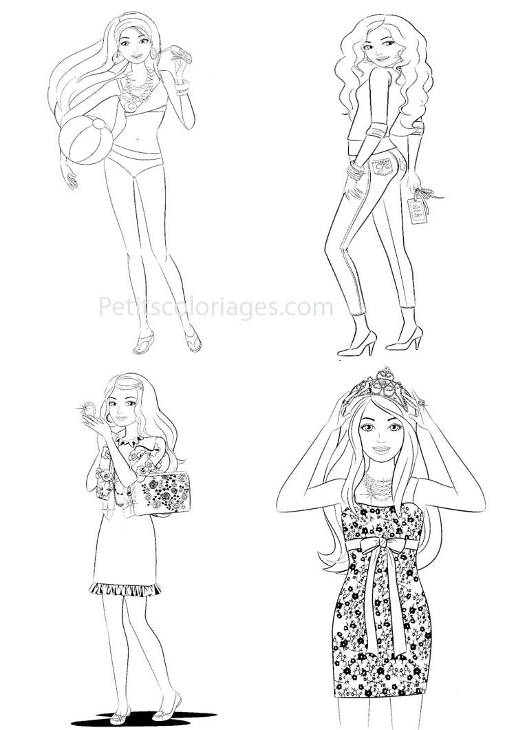 Petits coloriages Barbie miss, plage, couronne