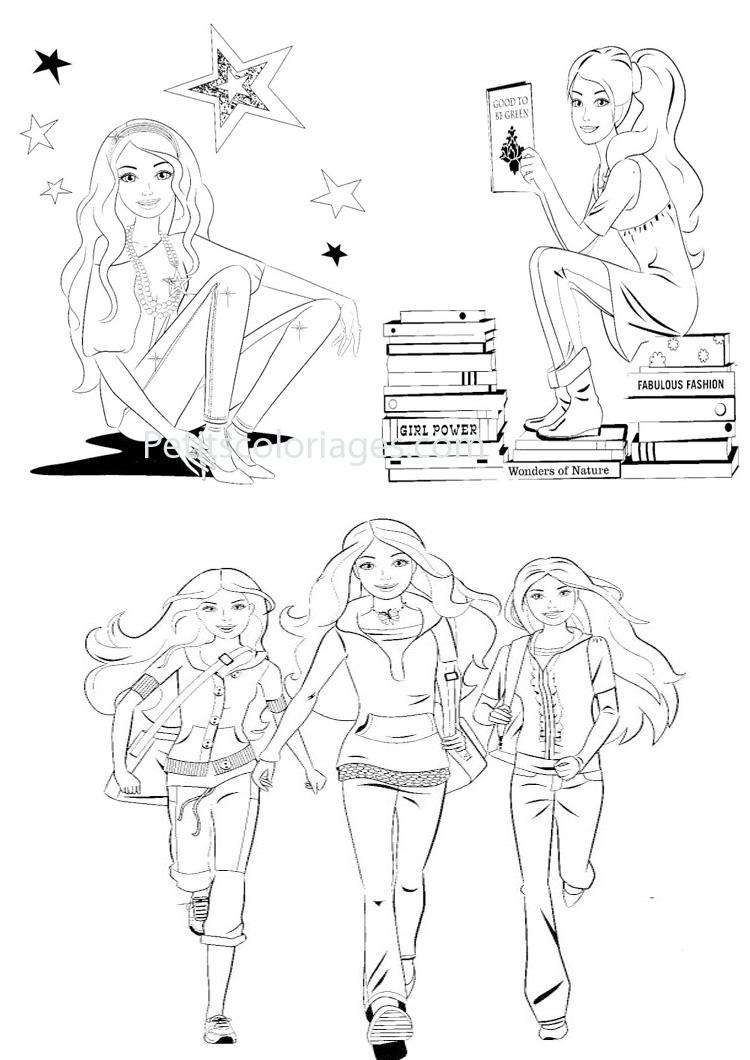 Petits coloriages Barbie livres, étoiles, lire