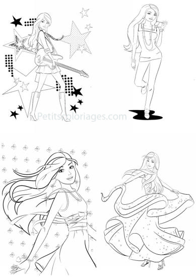 4 petits coloriages Barbie : guitare, star, robe