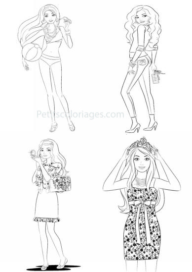 4 petits coloriages Barbie : miss, plage, couronne