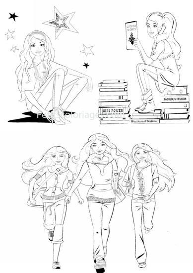 4 petits coloriages Barbie : livres, etoiles, lire
