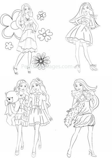 4 petits coloriages Barbie : fleurs, ourson, écharpe