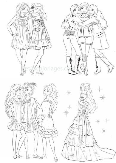 4 petits coloriages Barbie : robe, amis