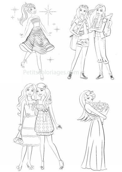 4 petits coloriages Barbie : bouquet, fleurs, robe