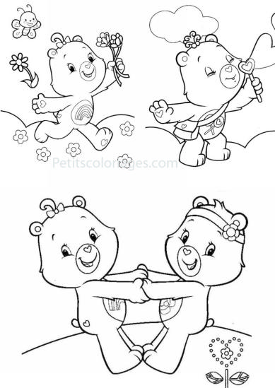 4 petits coloriages Bisounours : toucalin, rose, bulle
