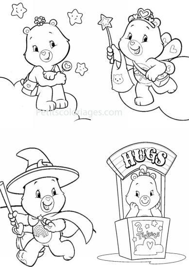 4 petits coloriages Bisounours : toucalin, toufou, sorcier