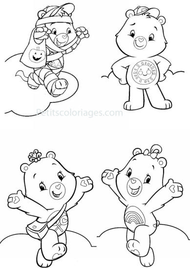 4 petits coloriages Bisounours : toucalin, toufou, toucostaud