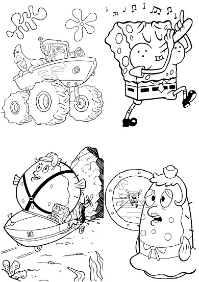 4 petits coloriages bob l'éponge : patrick, puff, permis
