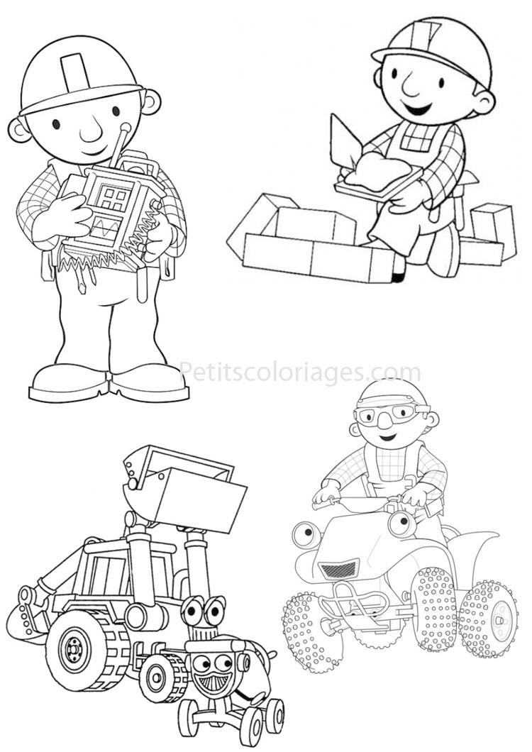 Petits coloriages bob le bricoleur buggy, tourneboule, tracteur
