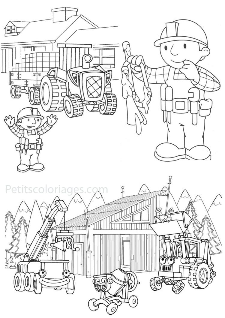 Petits coloriages bob le bricoleur tourneboule, tracteur, tristan