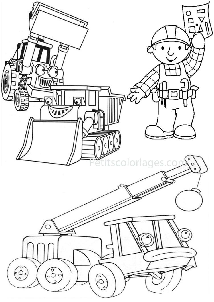 Petits coloriages bob le bricoleur scoup, camion pompier, Coccigrue