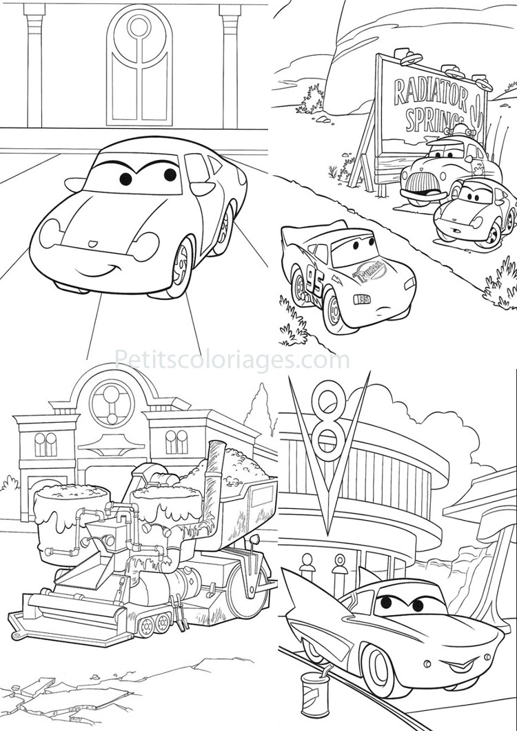 Petits coloriages cars sally, flo, flash