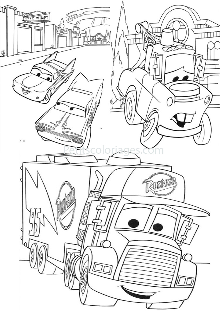 Petits coloriages cars mack, camion, flo, martin