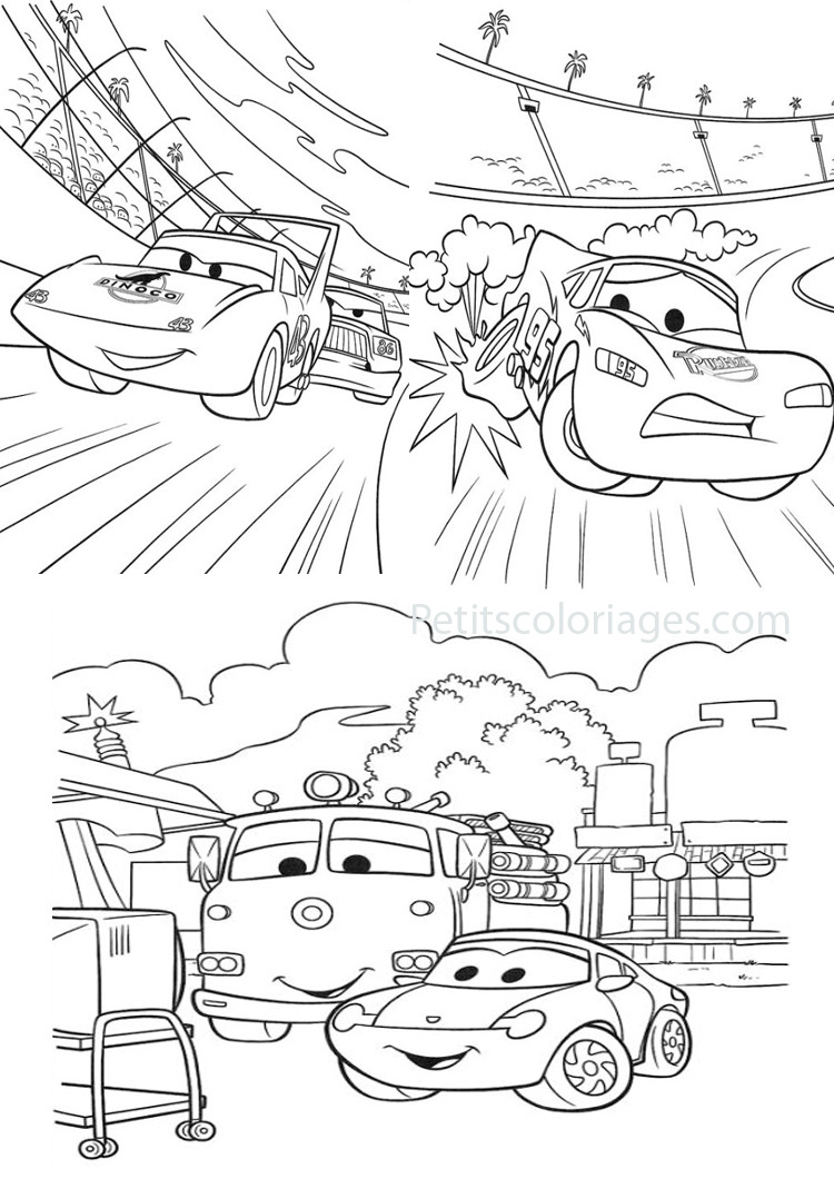 Coloriage Cars Le King.4 Coloriages Cars The King Flash Camion Red Sur Petitscoloriages Com