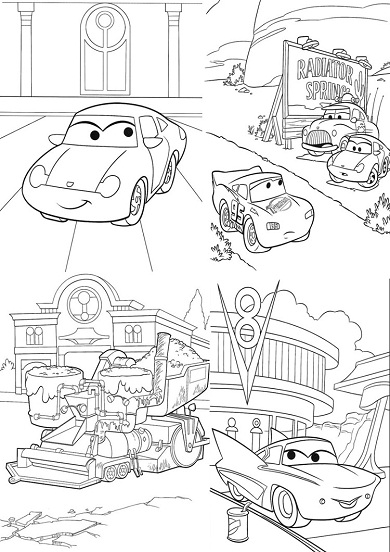 4 petits coloriages cars : sally, flo, flash