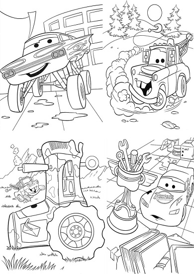 4 petits coloriages cars : martin, tracteur, ramone