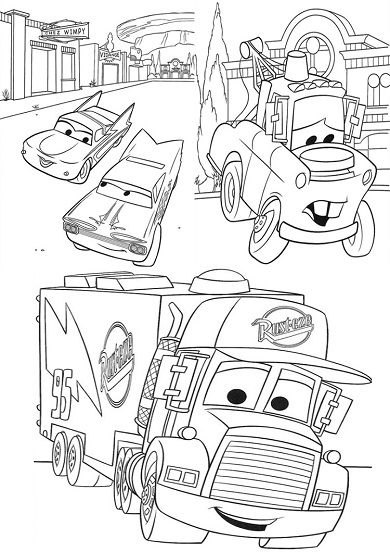 4 petits coloriages cars : mack, camion, flo, martin