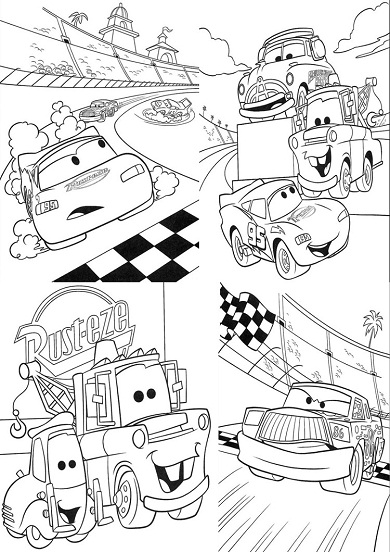 4 petits coloriages cars : chick, hicks, flash, guido