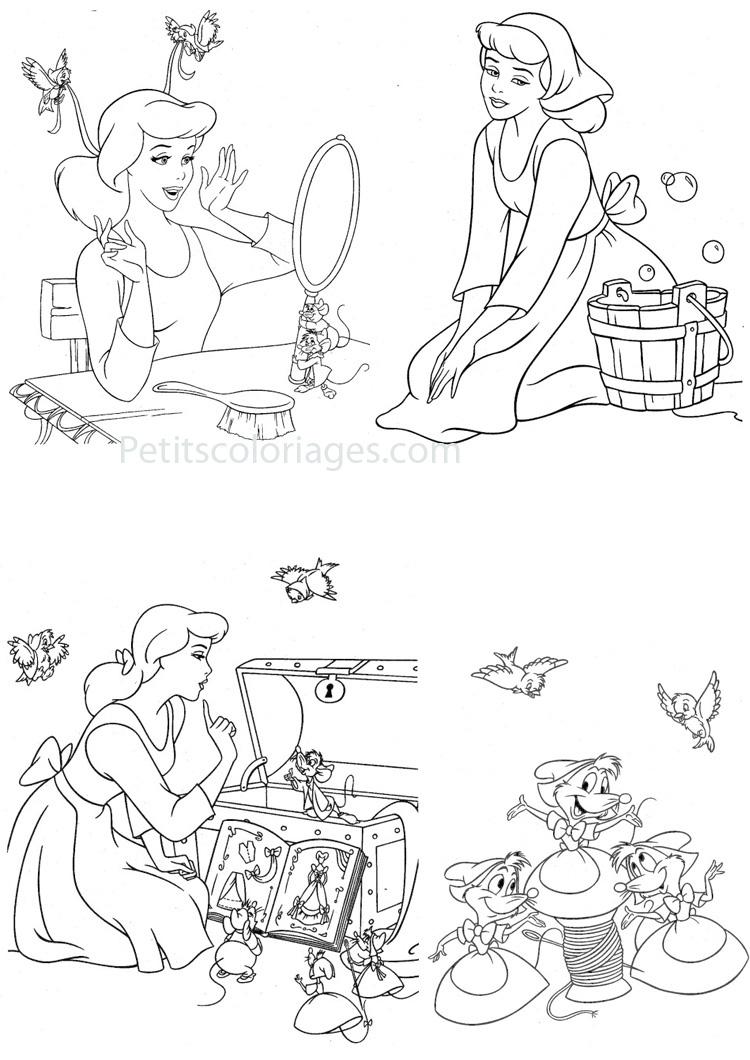 Petits coloriages cendrillon souris, robe, princesse