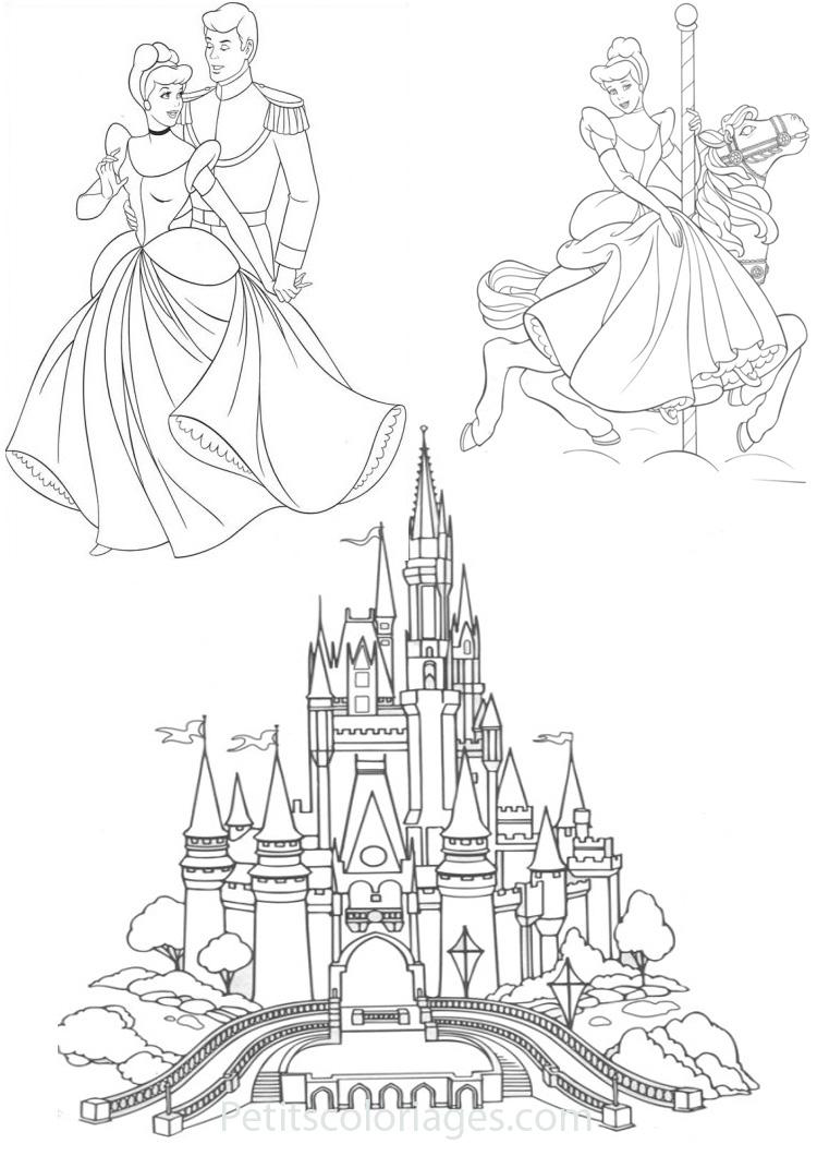 Petits coloriages cendrillon chateau, prince, manege