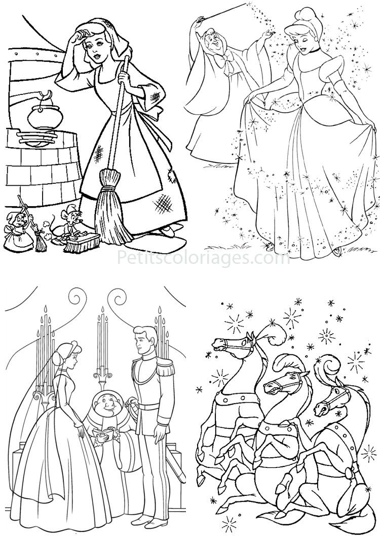 Petits coloriages cendrillon mariage, fée, ménage, chevaux