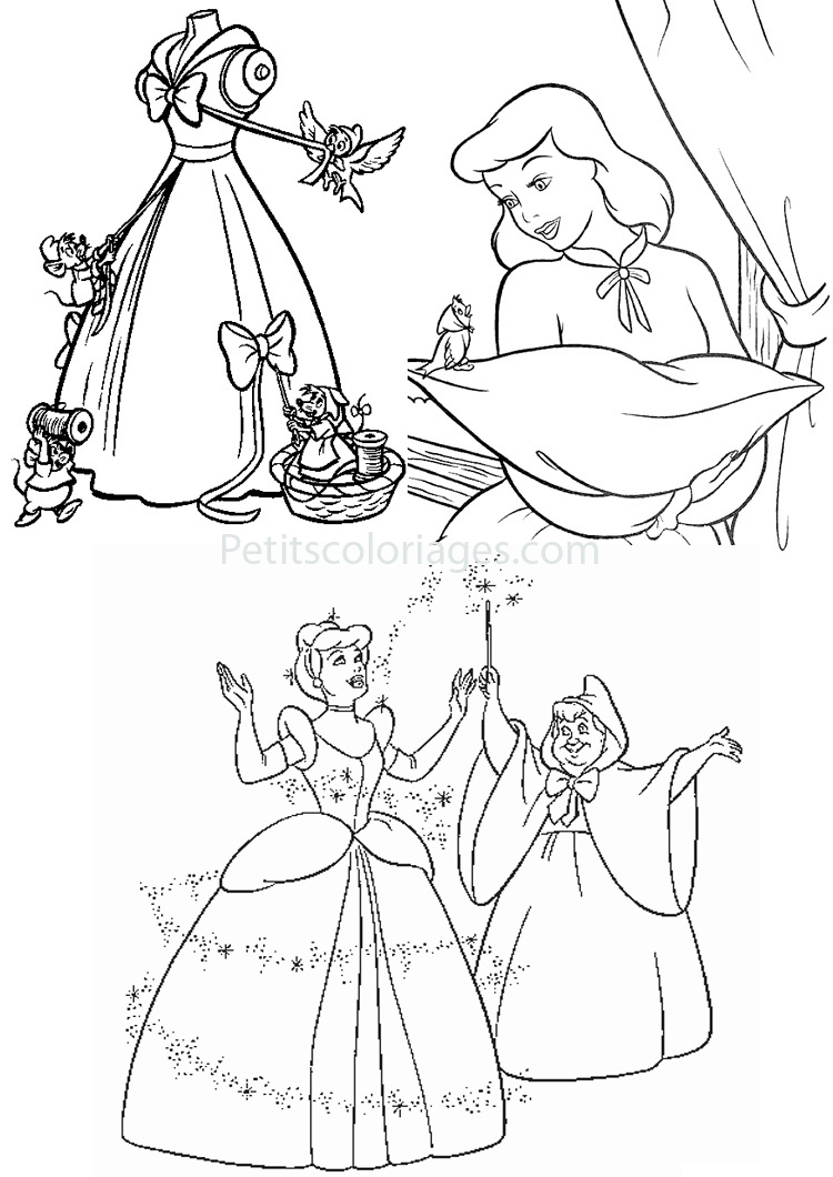 Petits coloriages cendrillon robe, fee