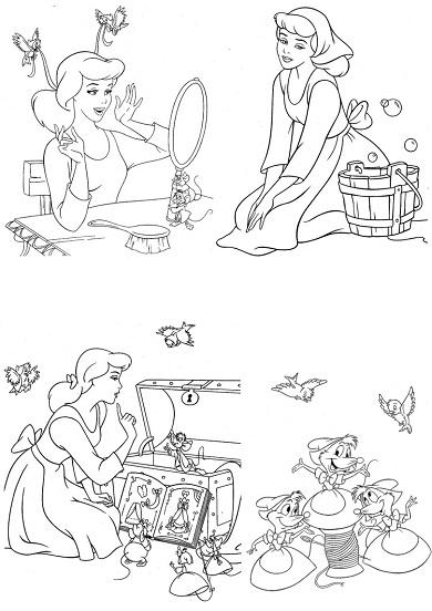 4 petits coloriages Cendrillon : souris, robe, princesse
