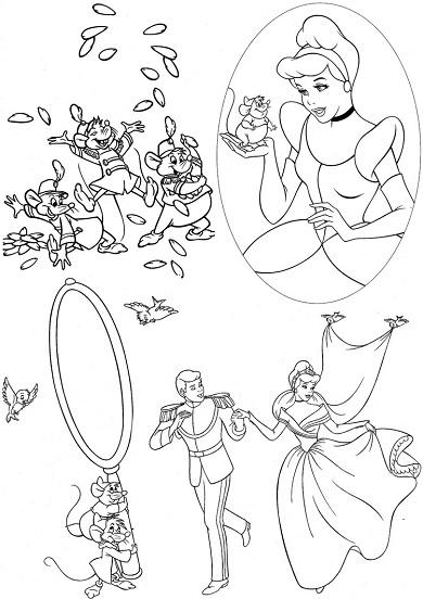 4 petits coloriages Cendrillon : prince, princesse, souris