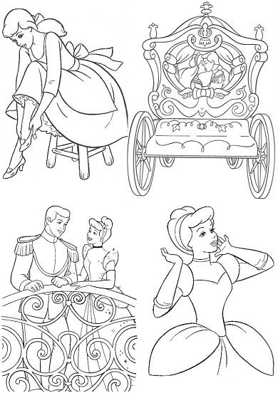 4 petits coloriages Cendrillon : princesse, carrosse, prince