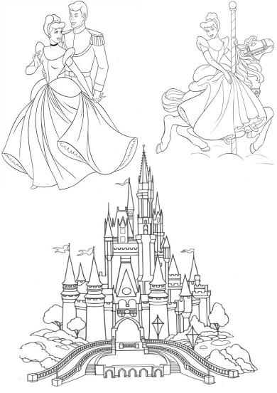 4 petits coloriages Cendrillon : chateau, prince, manège