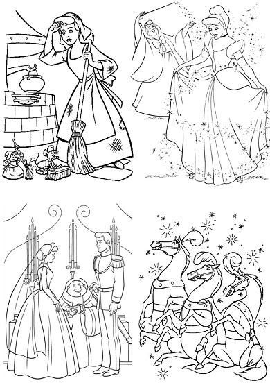 4 petits coloriages Cendrillon : mariage, fée, ménage, chevaux