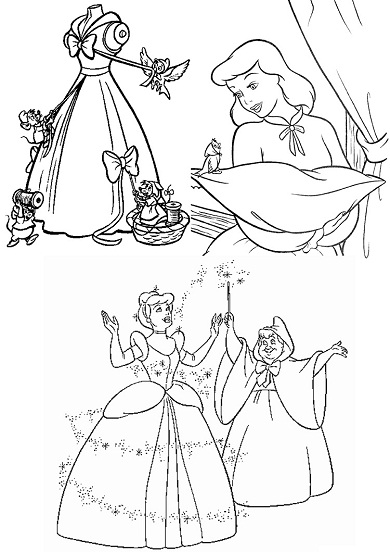 4 petits coloriages Cendrillon : robe, fe