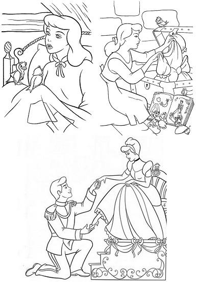 4 petits coloriages Cendrillon : princesse, prince, souris