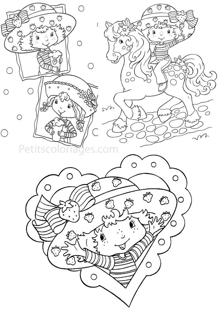 Petits coloriages charlotte aux fraises cookinelle, poney, coeur