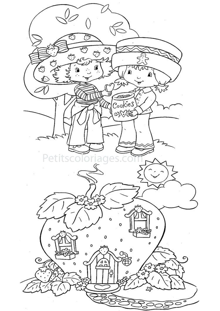 Petits coloriages charlotte aux fraises maison, cookinelle
