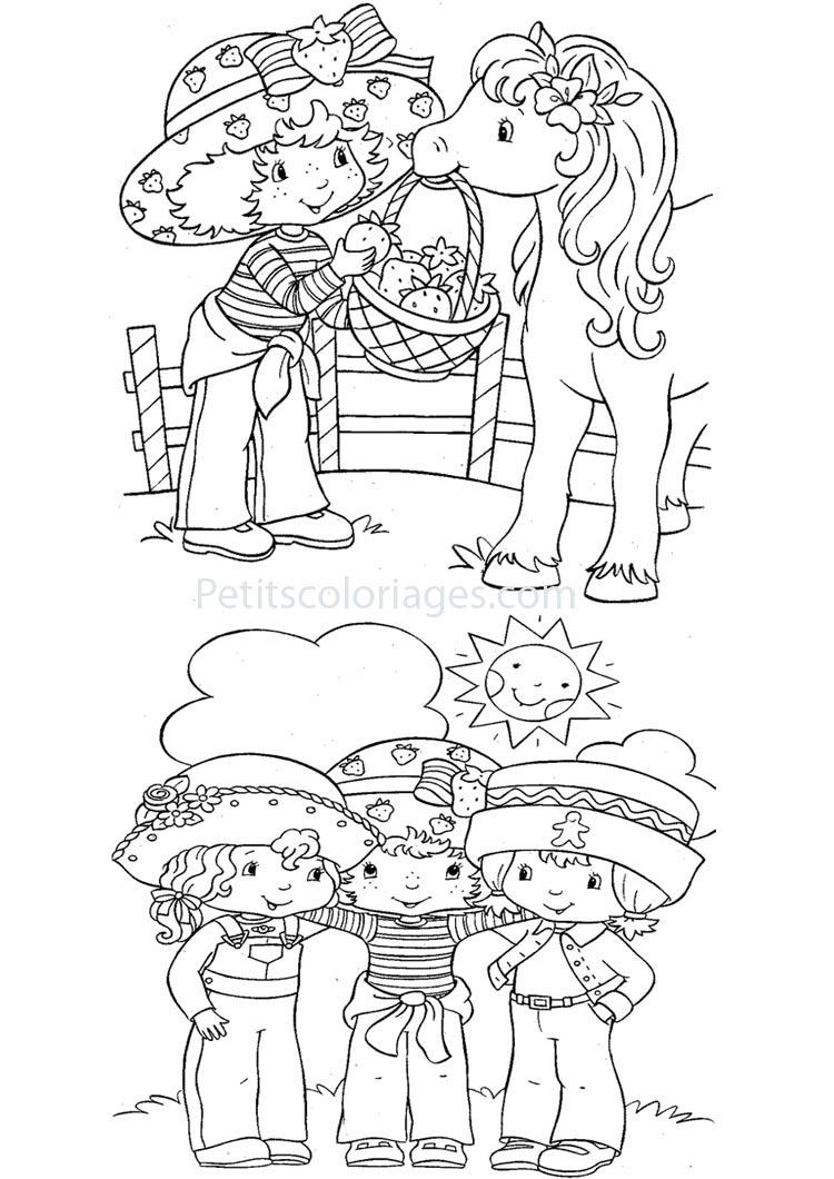 Petits coloriages charlotte aux fraises angelique, cookinelle, poney