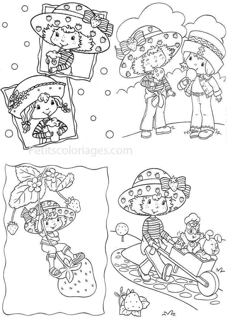 Petits coloriages charlotte aux fraises angélique, cookinelle, brouette, chat pralinette, chien clafoutis