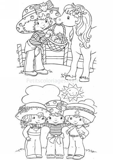 4 petits coloriages charlotte aux fraises : angelique, cookinelle, poney