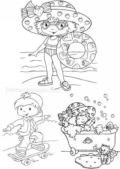 4 petits coloriages charlotte aux fraises : plage, bouee, bain, chat, coco berry, garcon, skate