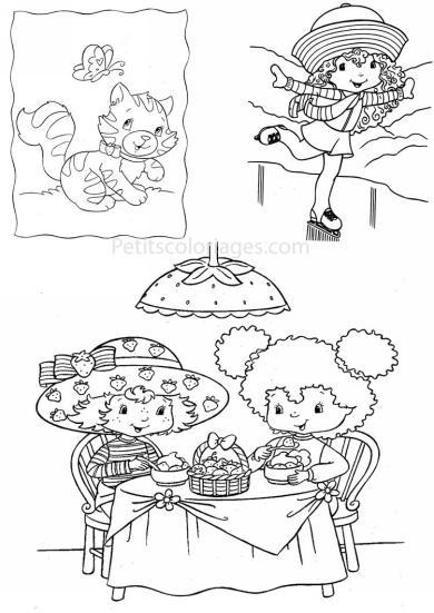 4 petits coloriages charlotte aux fraises : chat, pralinette, patinage, gouter, fleur d'oranger