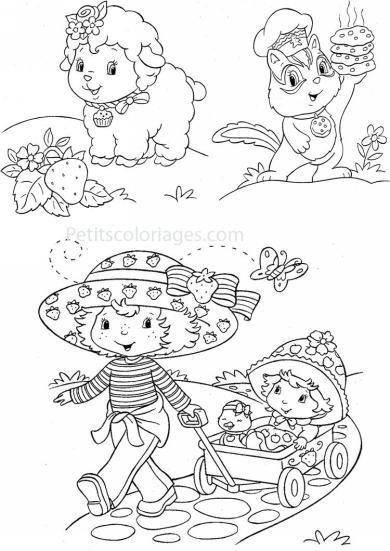 4 petits coloriages charlotte aux fraises : chat, pralinette, mouton, soeur, croque pomme