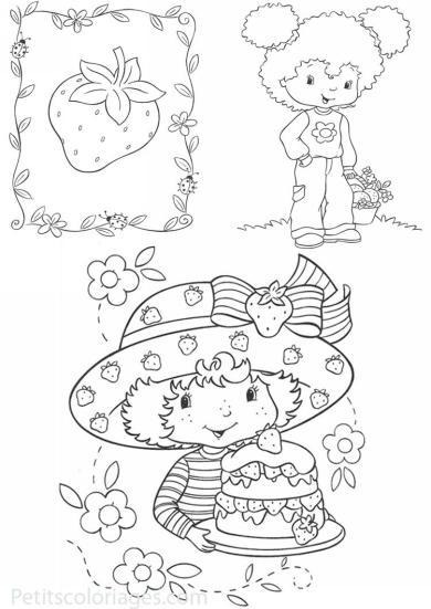 4 petits coloriages charlotte aux fraises : fleur d'oranger, gateau, fraise