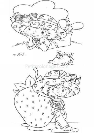 4 petits coloriages charlotte aux fraises : grosse fraise