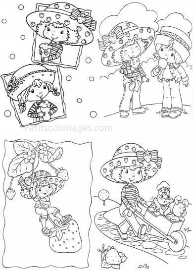 4 petits coloriages charlotte aux fraises : angelique, cookinelle, brouette, chat pralinette, chien clafoutis