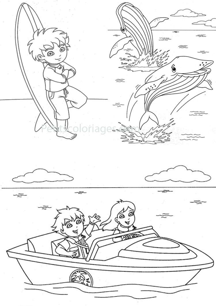 Petits coloriages Diego dora, baleine, plage