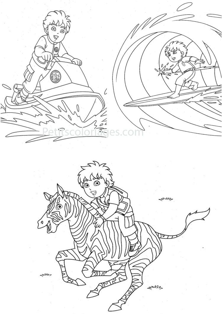 Petits coloriages Diego surf, jet-ski, zèbre